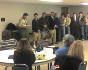 Mr. Kirchner gives his final Scoutmaster minute