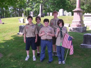 Scouts at Pine Grove Cemetery for Grave Flagging