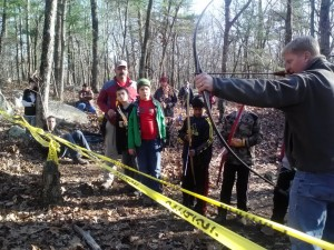 Pack 4 and 32 webelos get an Archery Lesson from Mr. Crouteau